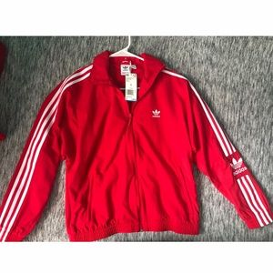 NEW ! Women's Red adidas lockup track jacket SMALL
